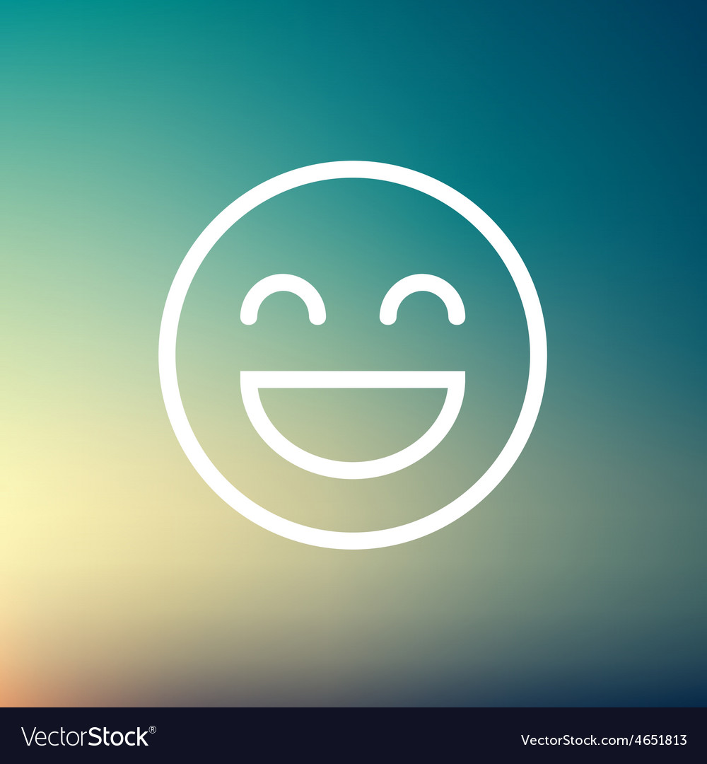 Cheerful emoji thin line icon vector
