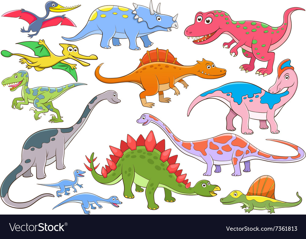 Cute dinosaurs cartoon character vector