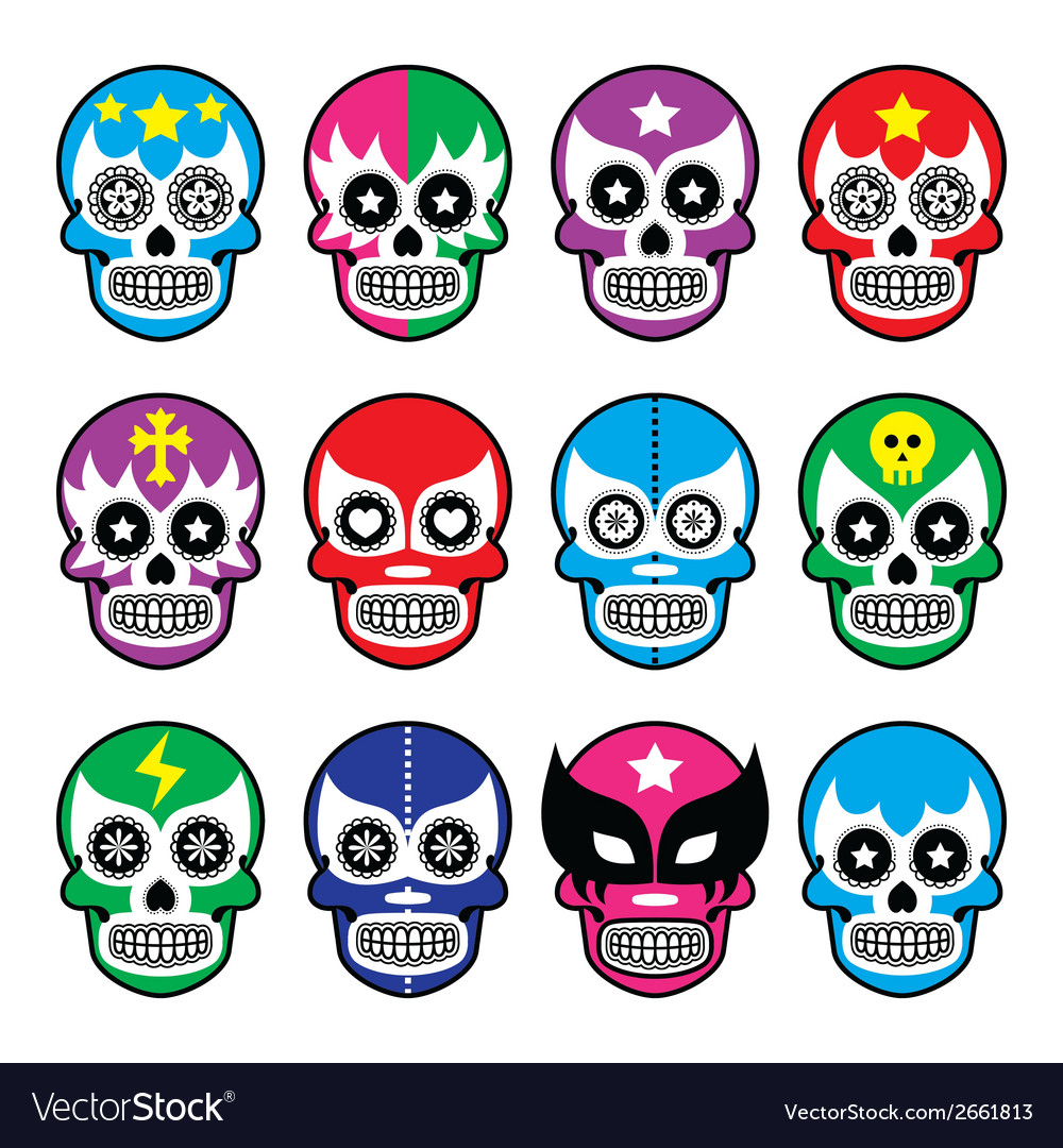 Lucha libre  sugar skull masks icons vector