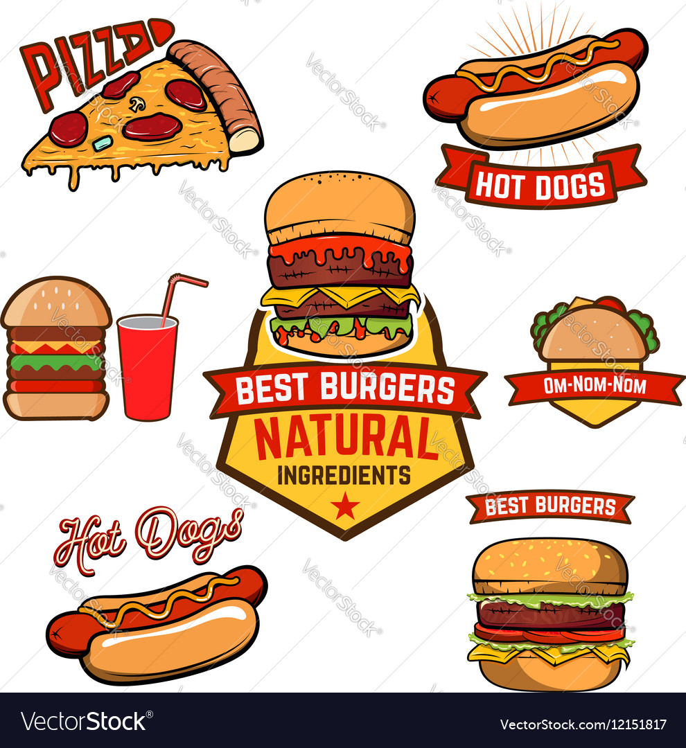 Pizza burger hotdog in retro vector