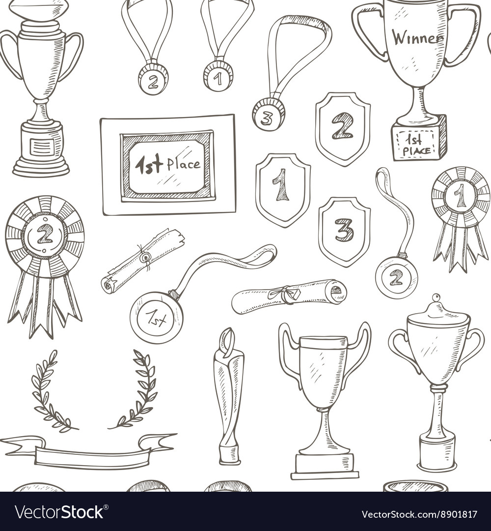 Seamless pattern with decorative sketch award vector