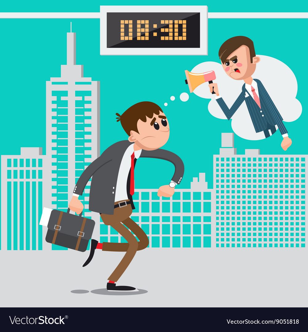 Businessman late for work angry boss screaming vector