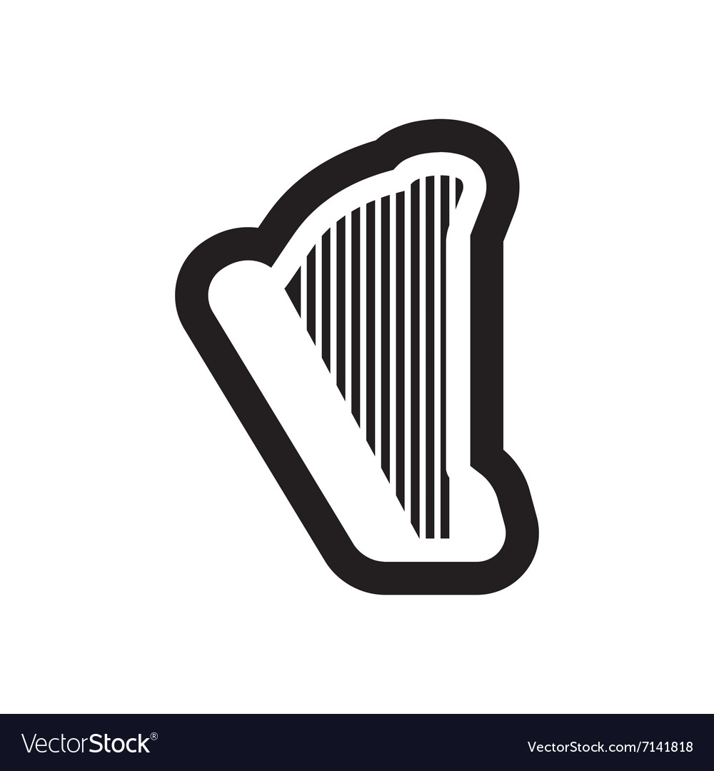 Flat icon in black and white style harp vector