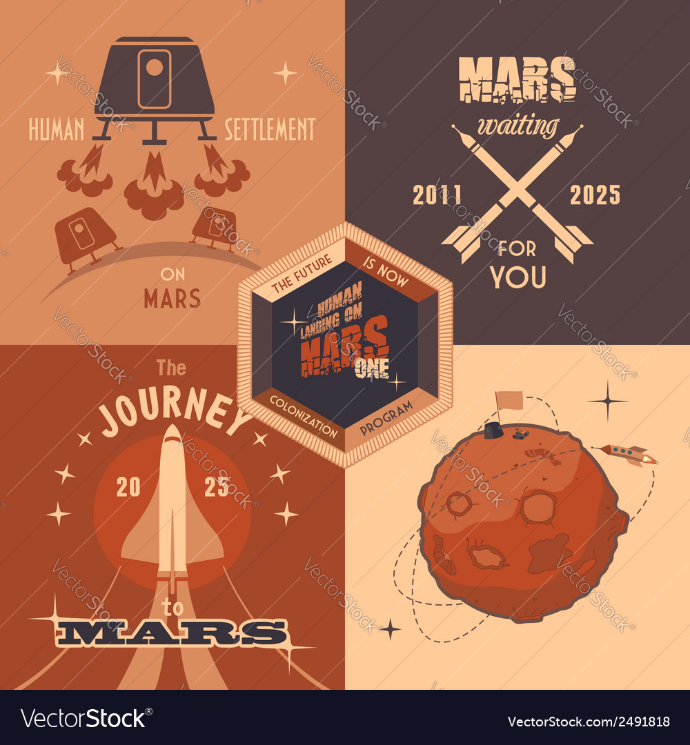 Mars colonization program flat design labels vector