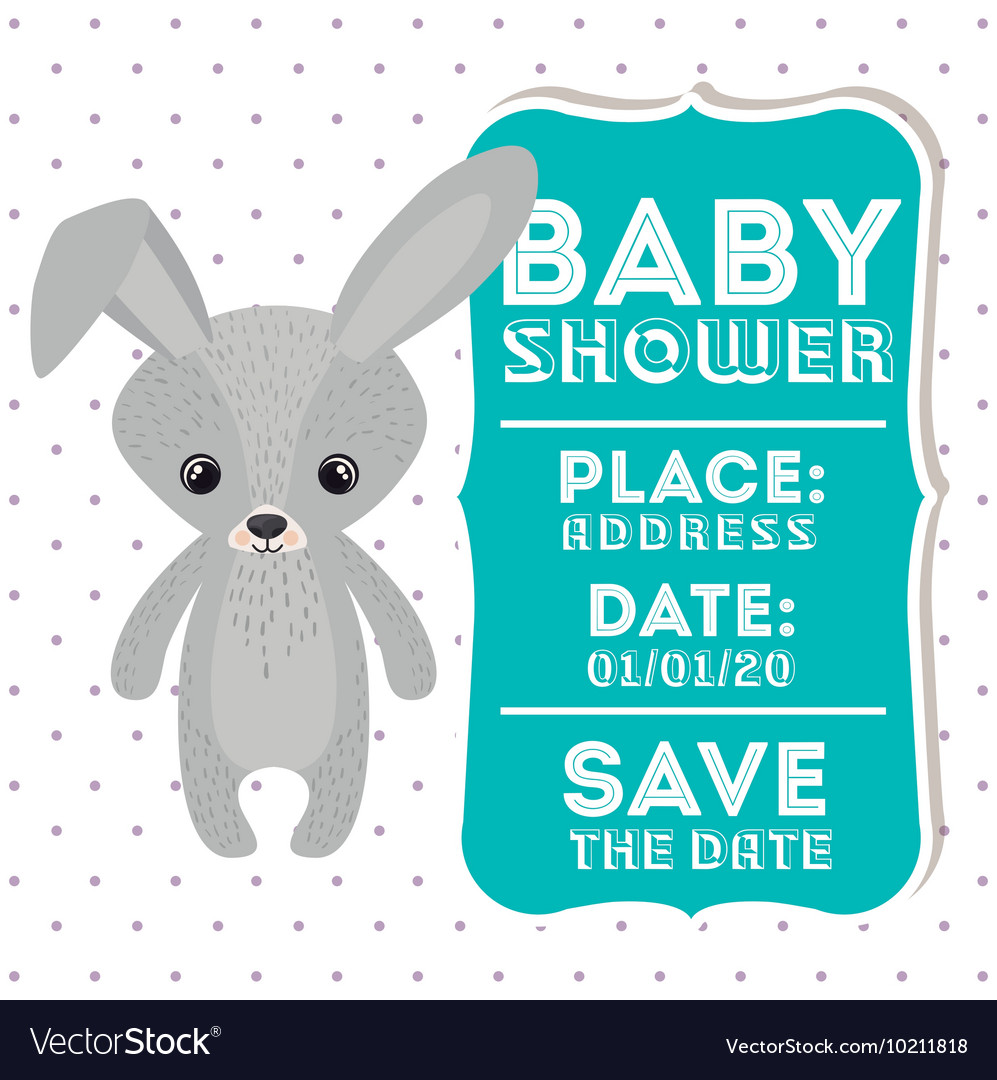 Rabbit animal baby shower card icon vector