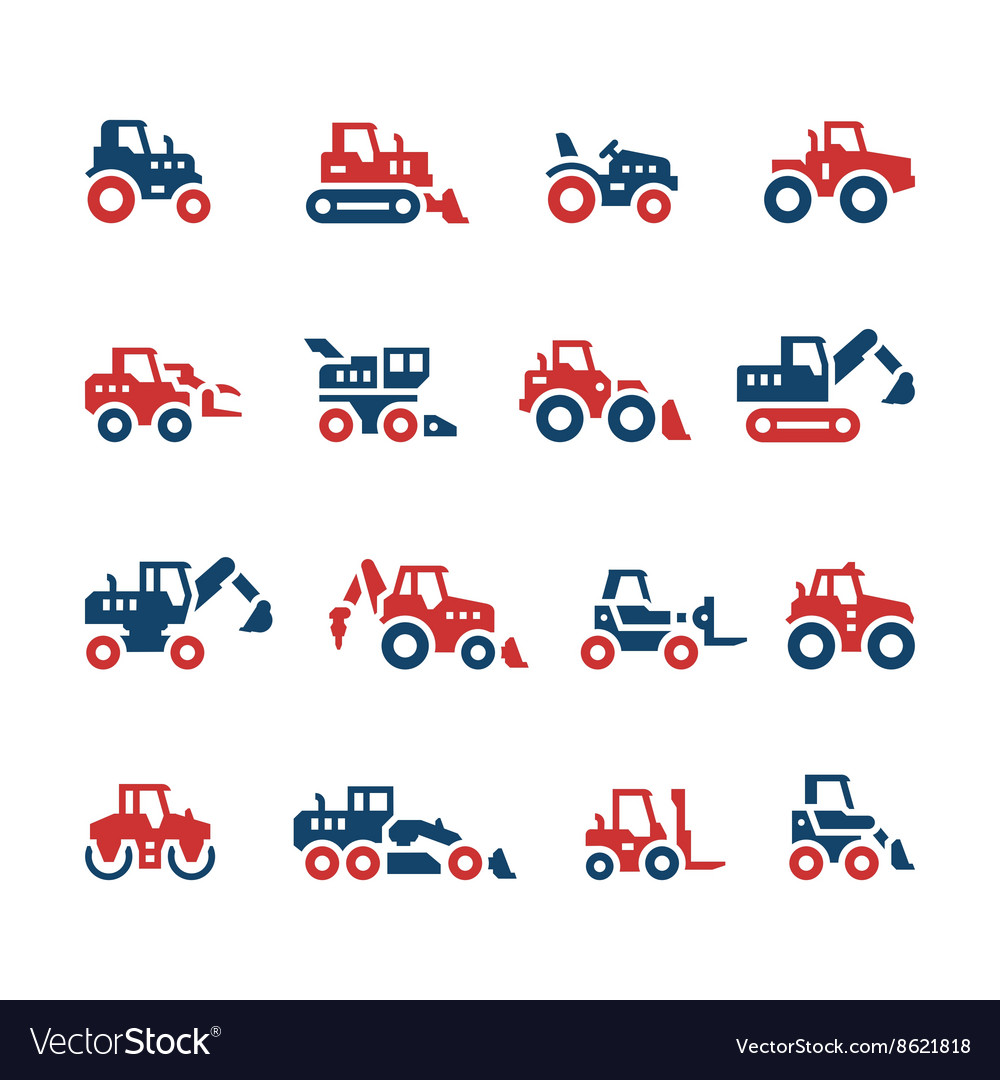 Set color icons of tractors vector