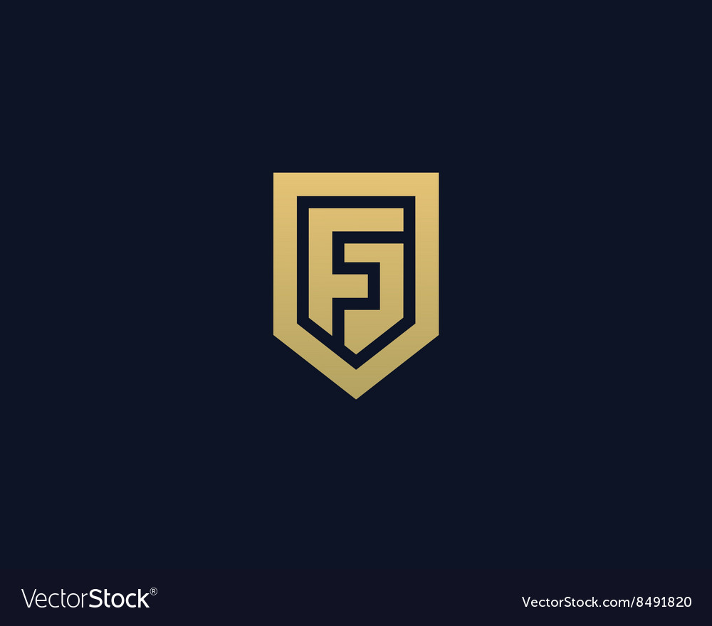 Abstract letter f shield logo design template vector