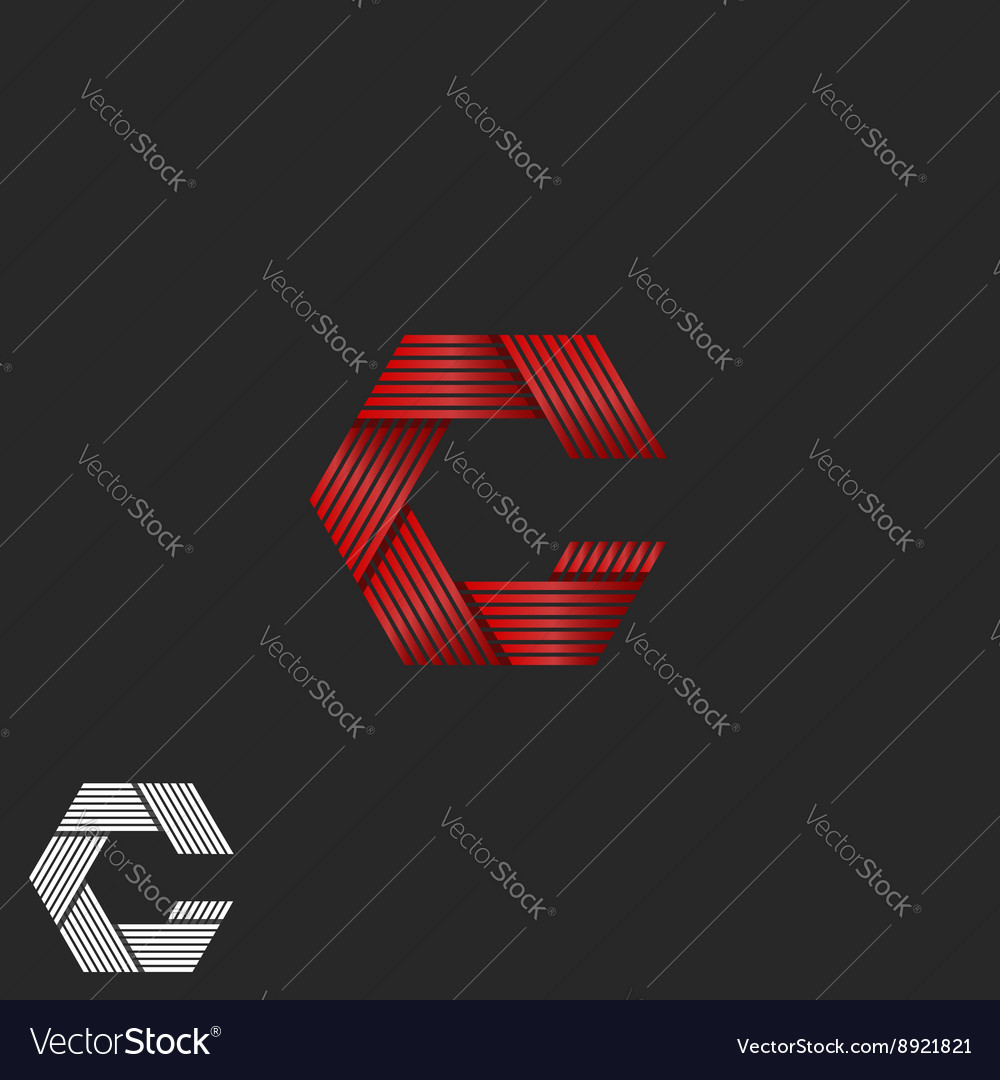 Flickering intersection lines letter c logo vector