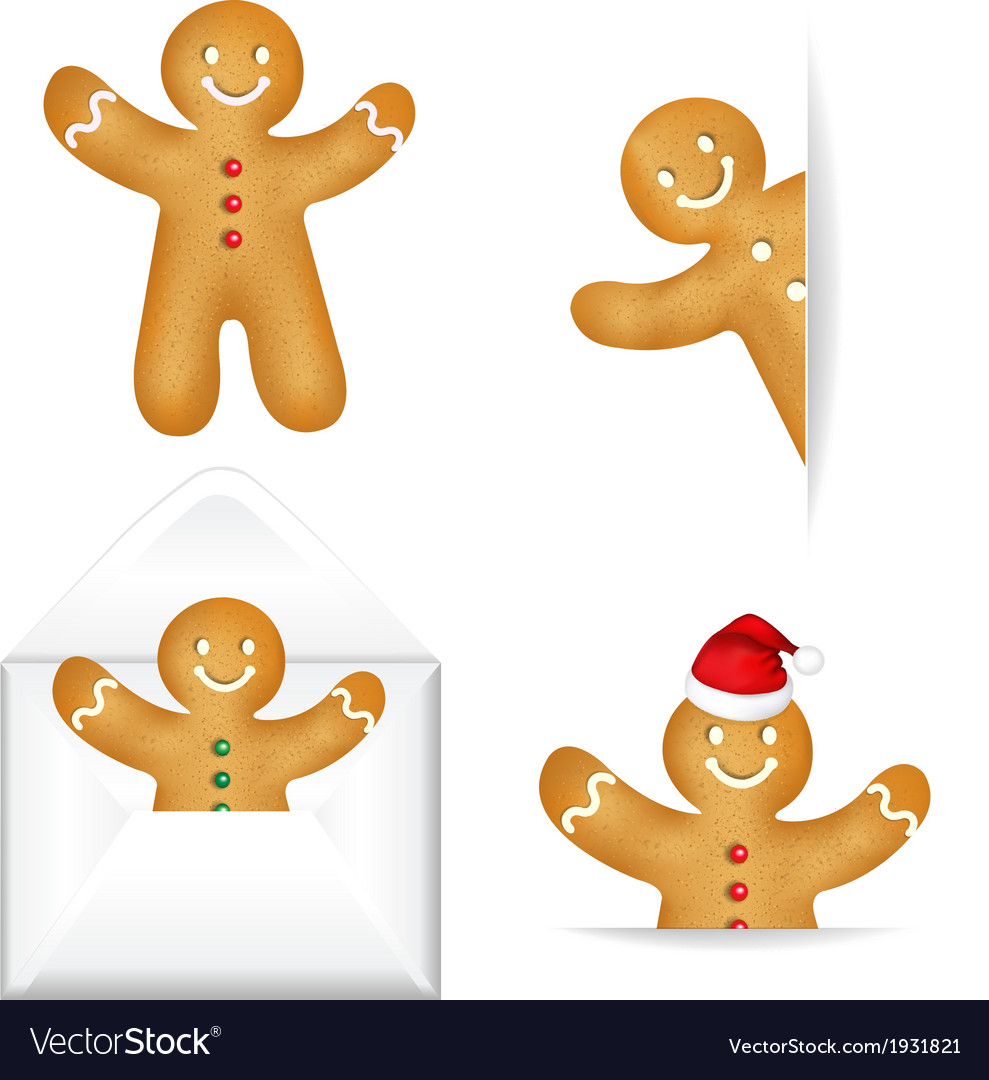 Gingerbread mans big set vector