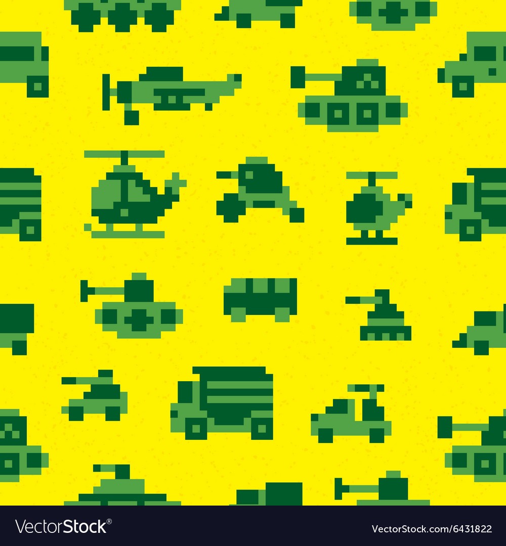 Pixel war seamless pattern vector