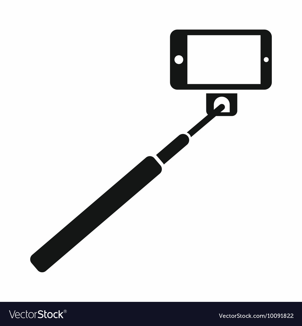 Selfie stick and smartphone icon simple style vector