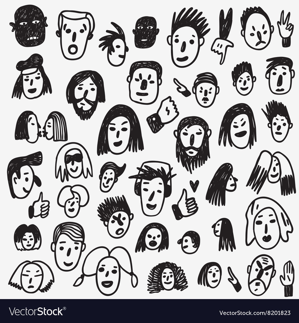 People faces doodles vector