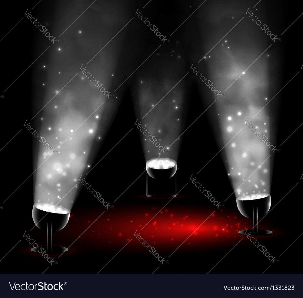 Three spotlights vector