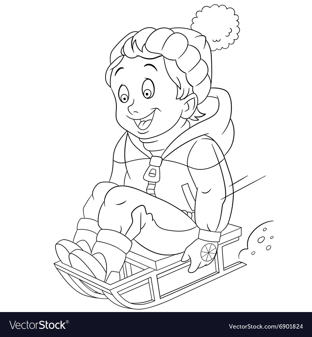 Happy cartoon sledding boy vector