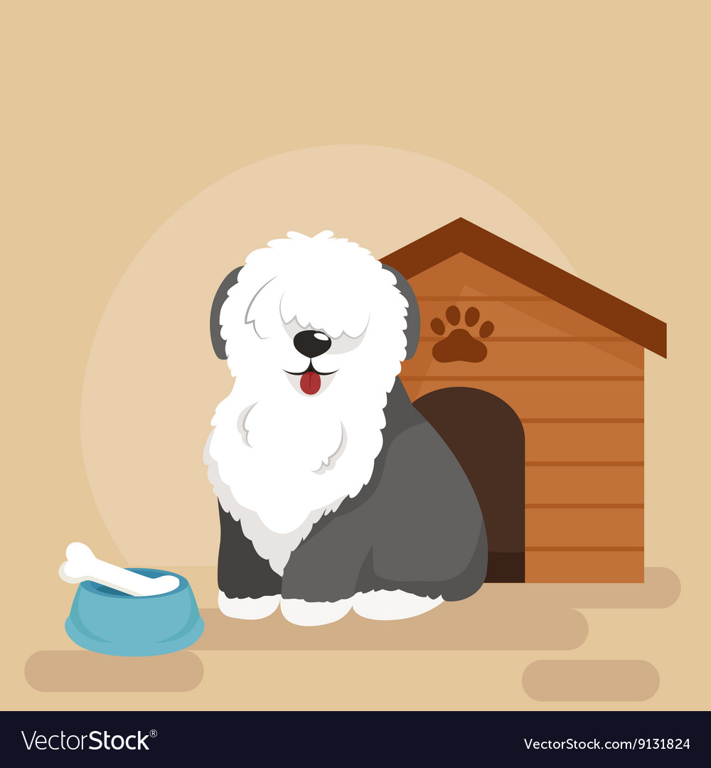 Happy dog kennel house with bone and bowl of food vector