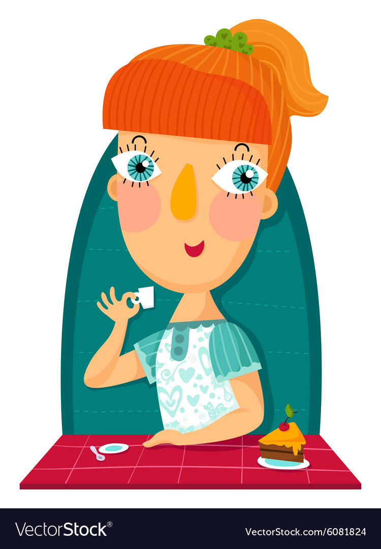 Redhair girl with cup and sweet cake vector