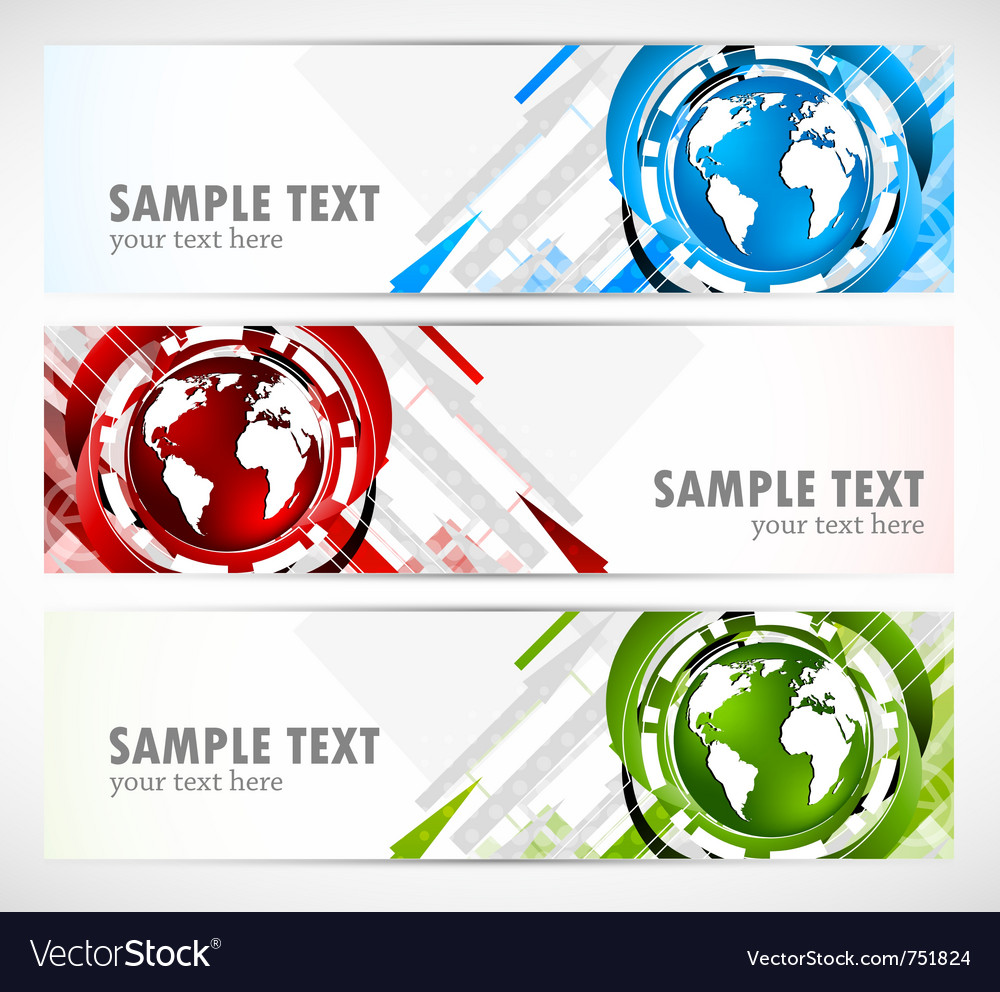 Set of banners with globe vector