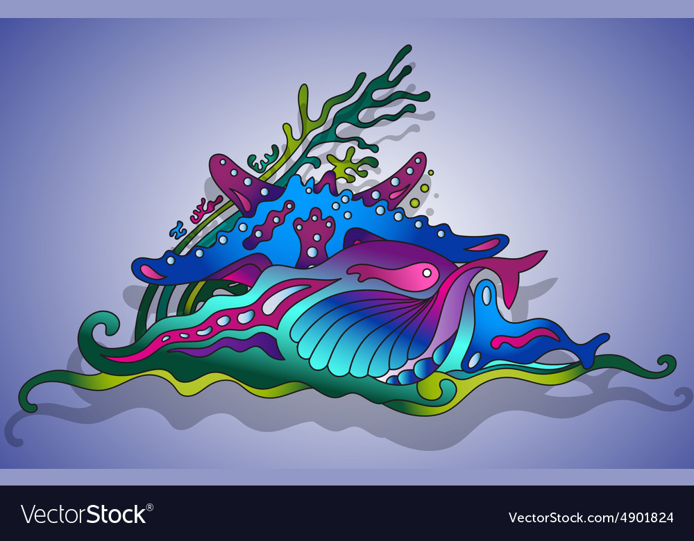 With underwater world vector