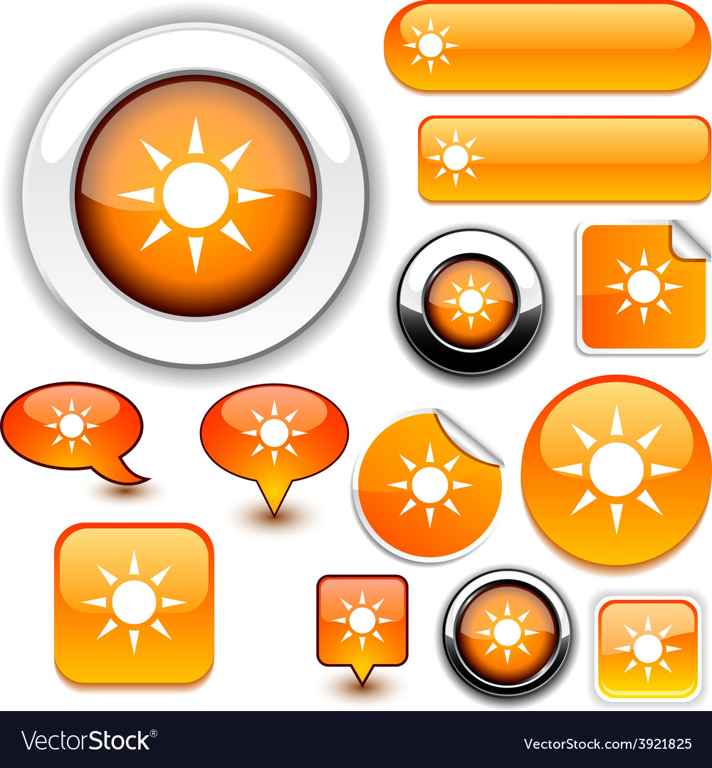 Sun orange signs vector