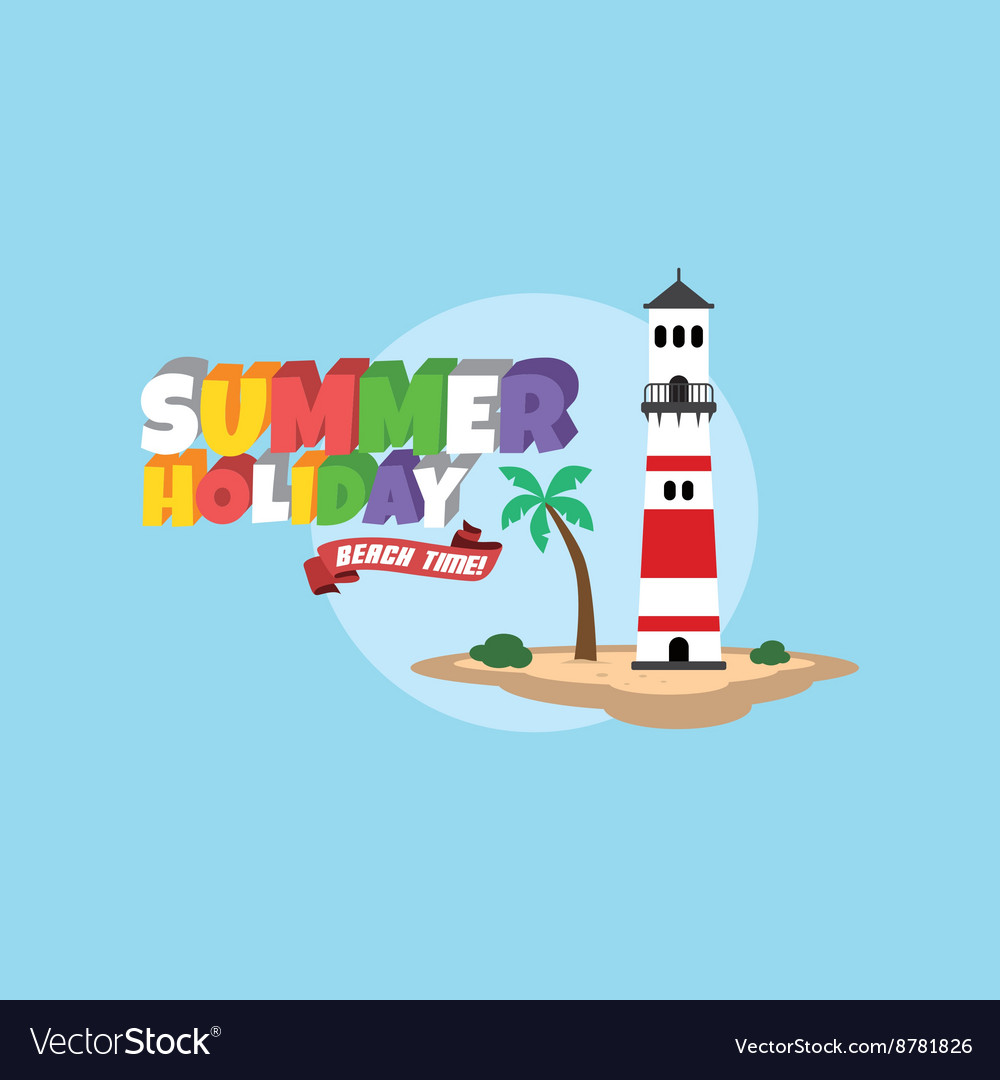 Summer holiday retro cartoon theme vector