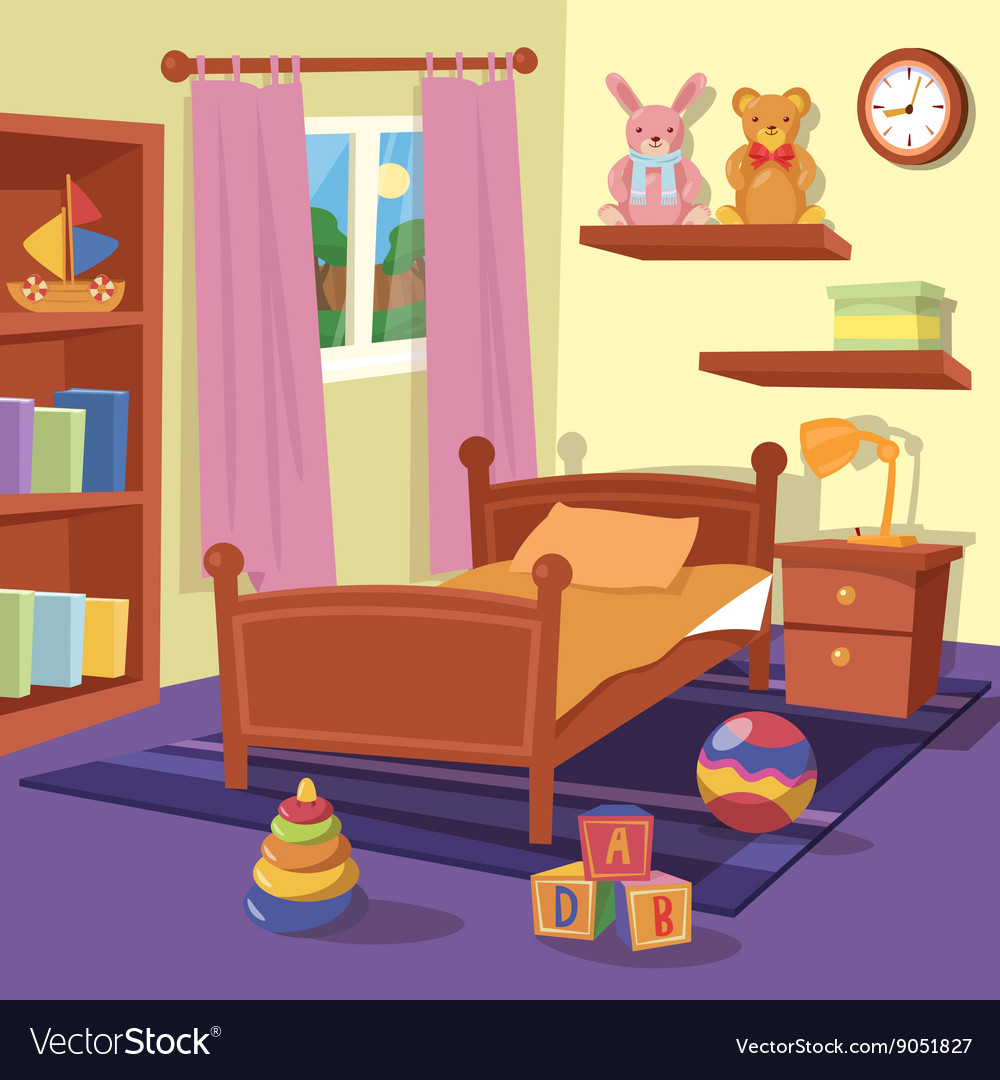 Children bedroom interior children room vector