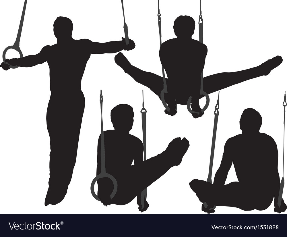Gymnastics rings silhouette vector