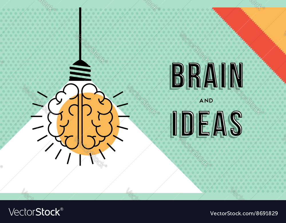 Brain and ideas concept in modern line art design vector