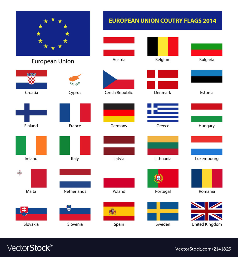 European union country flags 2014 member states eu vector