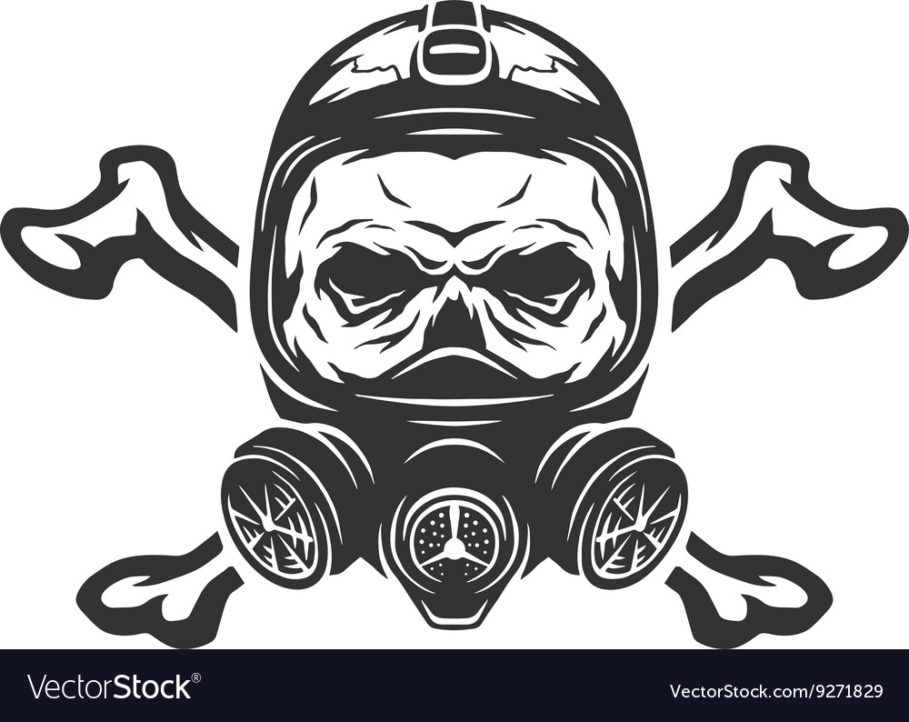 Skull wearing a gas mask and crossbones vector