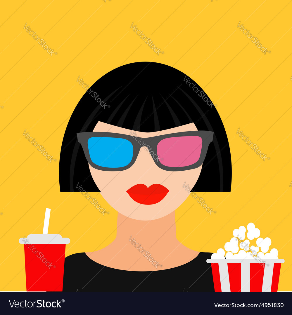 3d glasses big popcorn and soda brunet girl vector