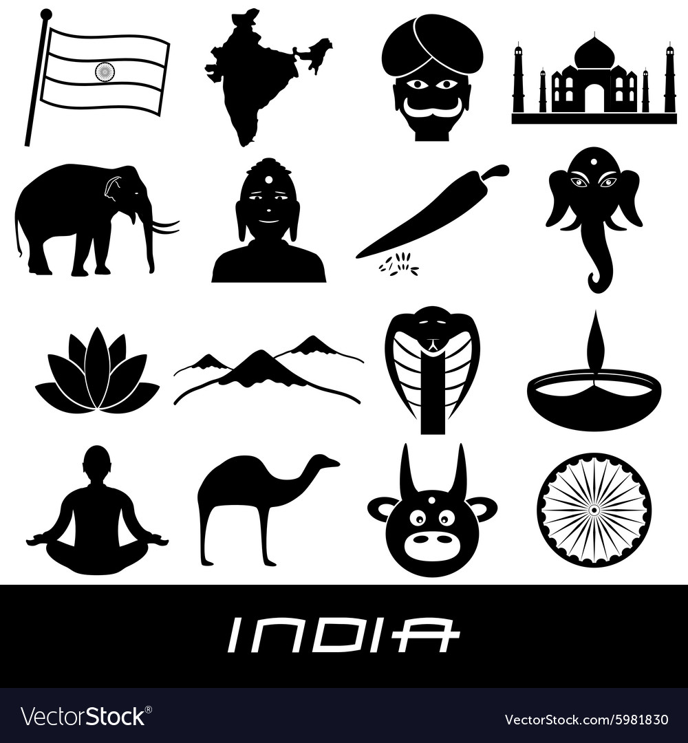 India country theme symbols stickers set eps10 vector