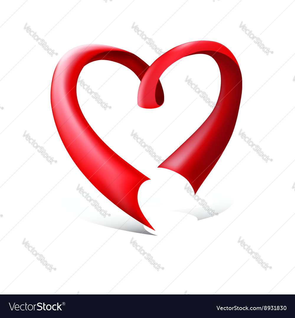 Red glossy ribbon heart vector