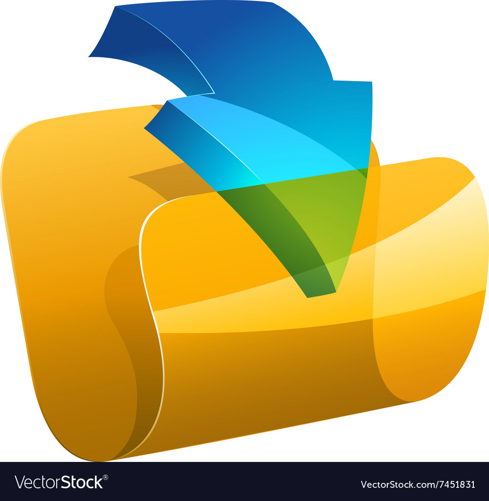 Computer folder with dowloading arrow vector