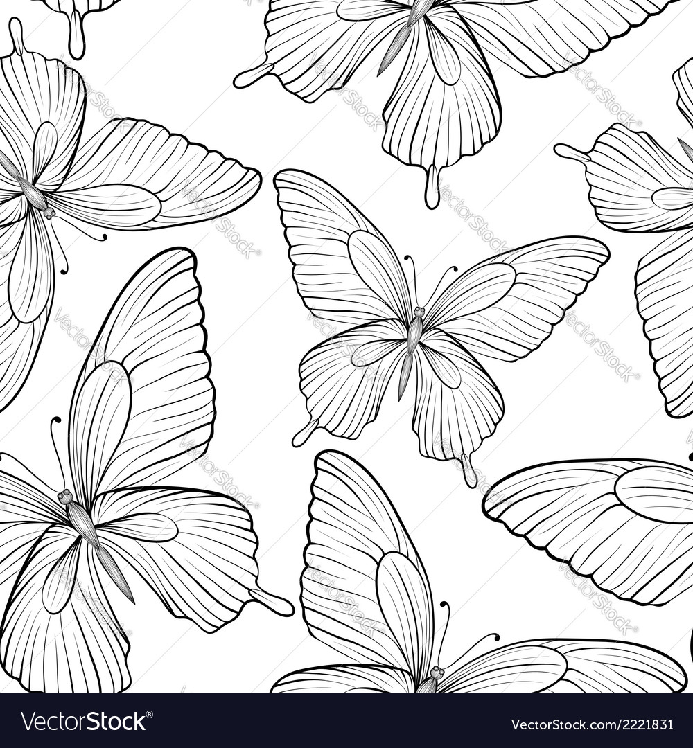 Seamless background of butterflies black and white vector