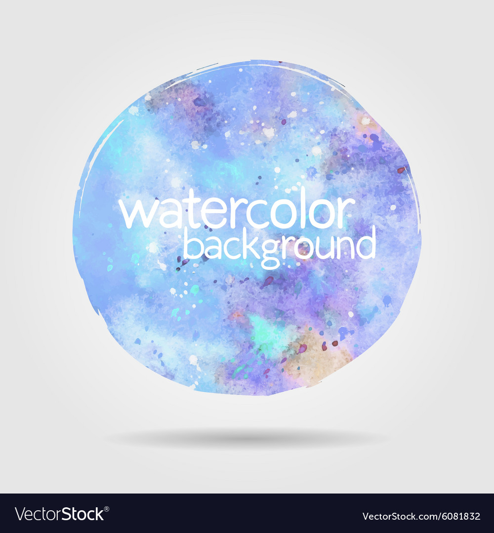 Watercolor round stain background blue vector