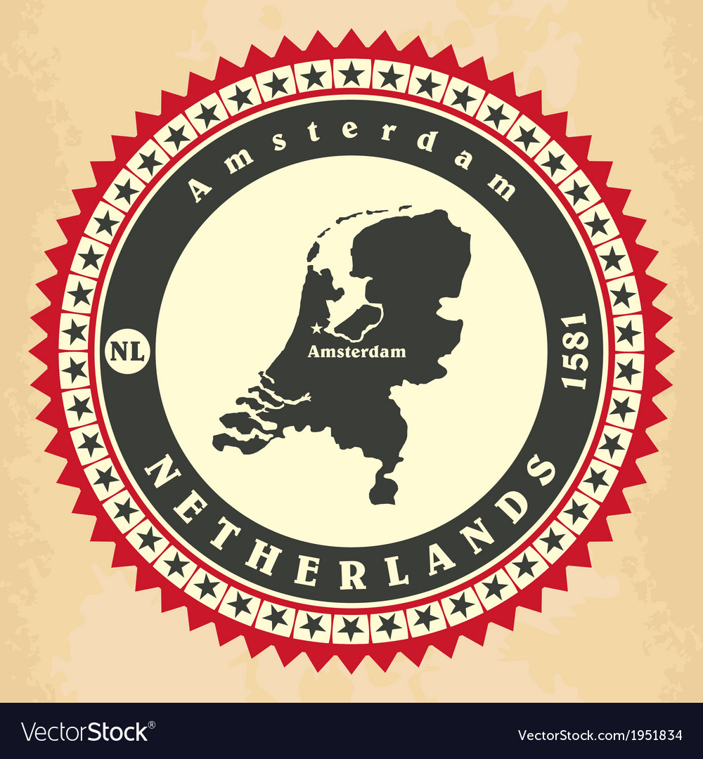 Vintage labelsticker cards of netherlands vector