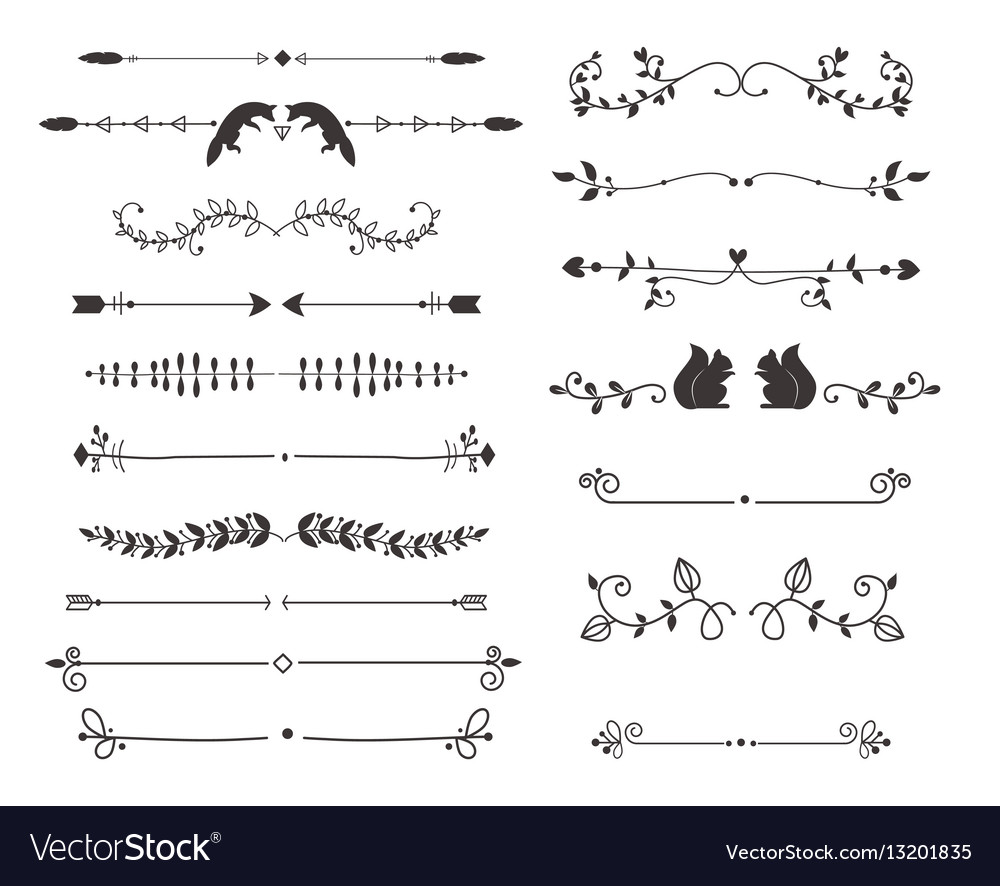 Dividers calligraphic line element vector