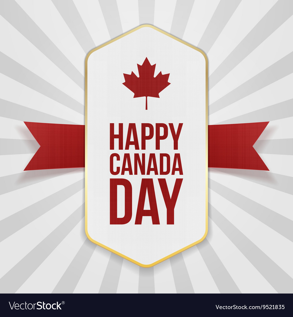 Happy canada day greeting badge vector