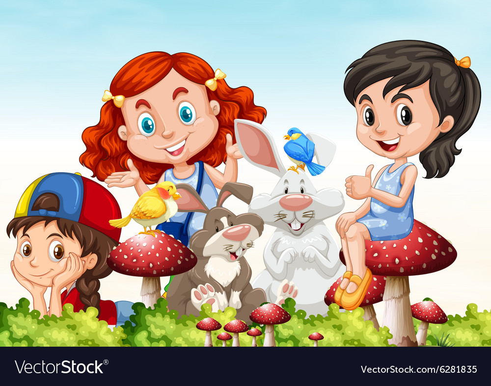 Three girls and rabbits in the garden vector