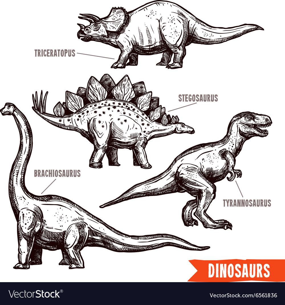 Hand drawn dinosaurs set black doodle vector
