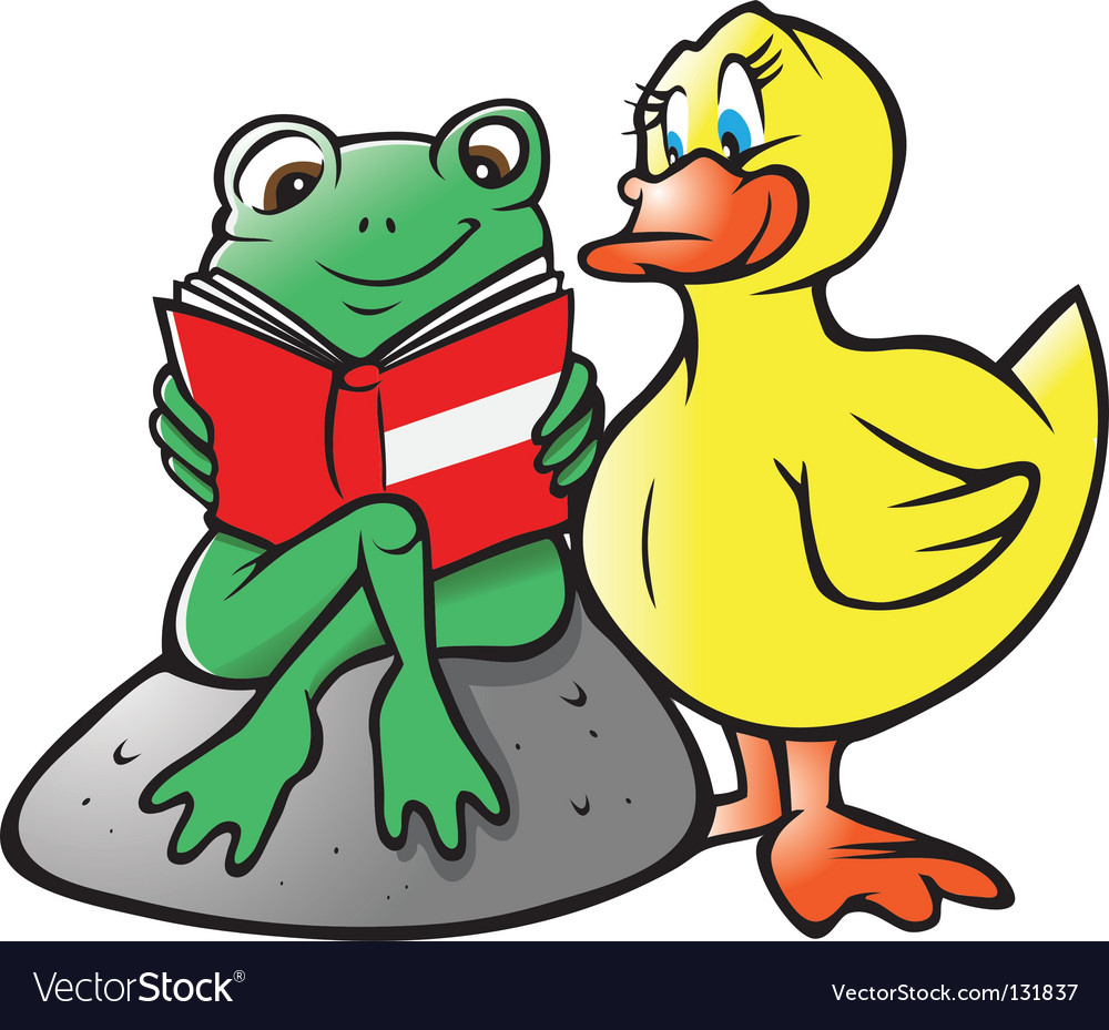 Frog duck reading vector