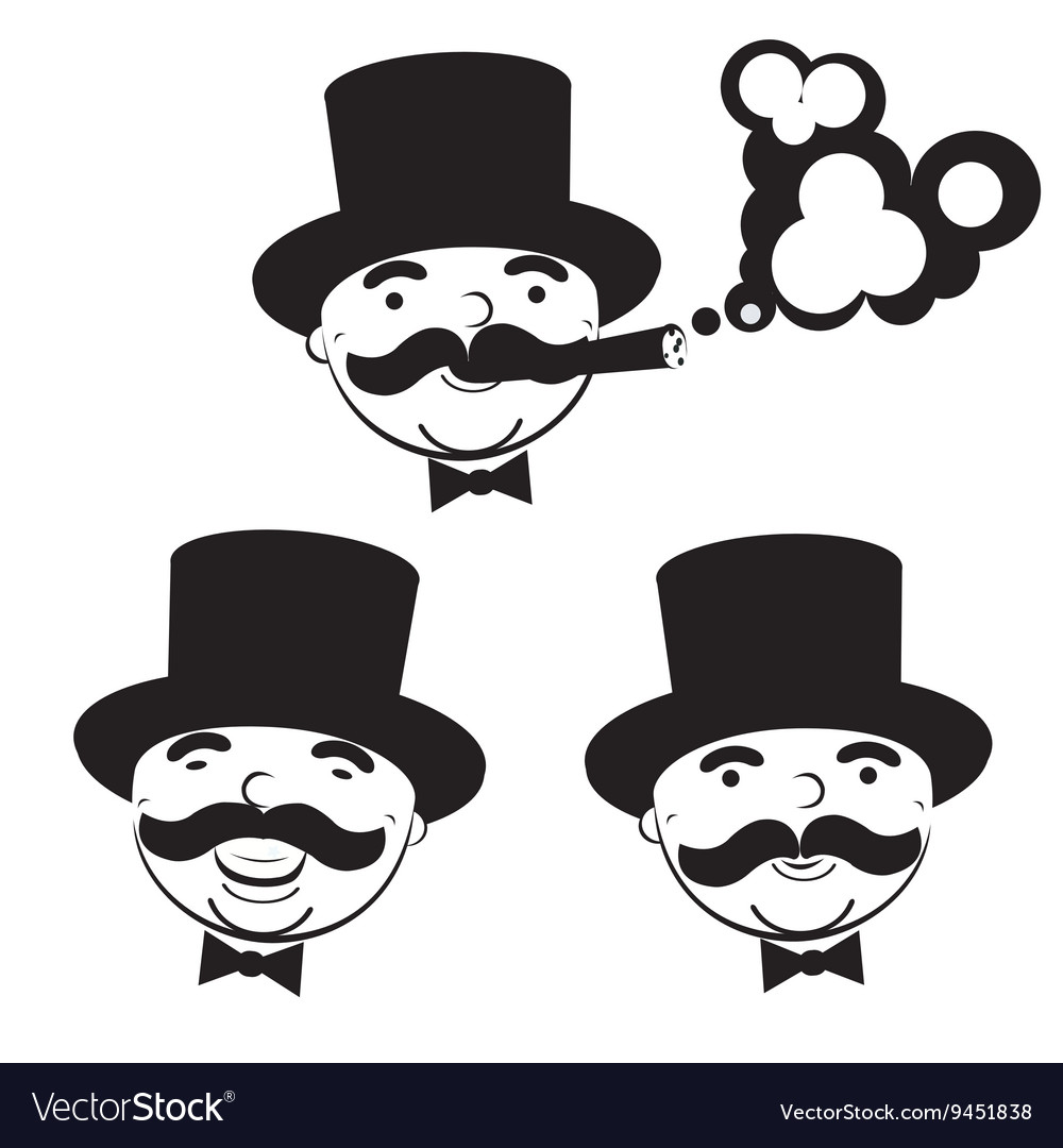 Black and white set of men in top hats vector