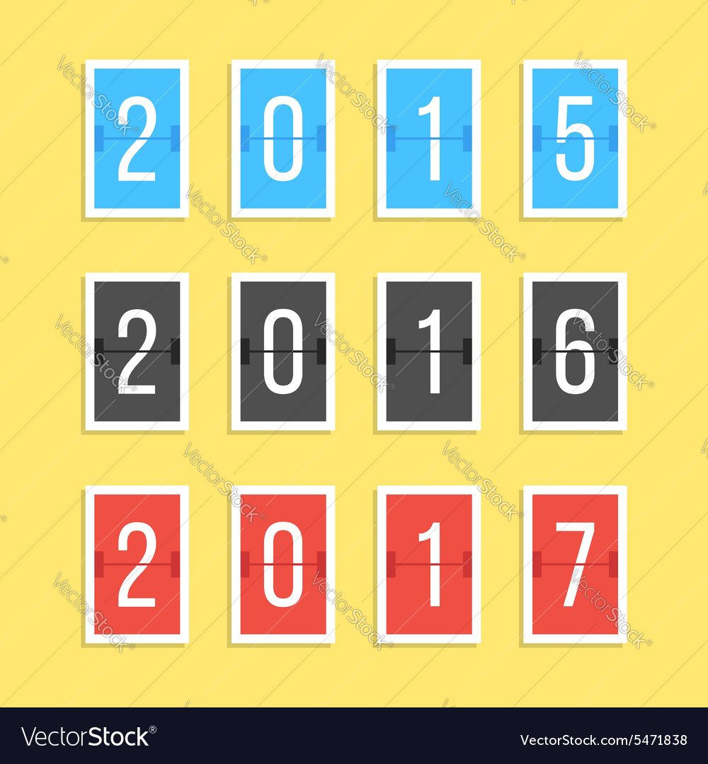 Scoreboard year numbers isolated on yellow vector