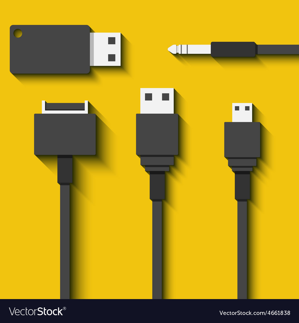 Set usb cables and flash cards in flat style vector