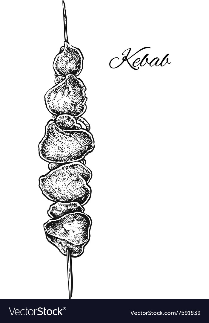 Black and white hand drawn kebab vector