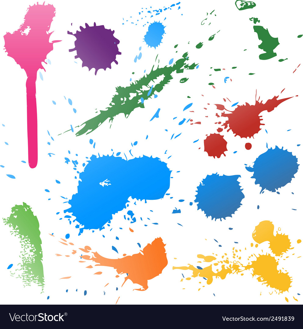Colorful abstract ink paint splats vector