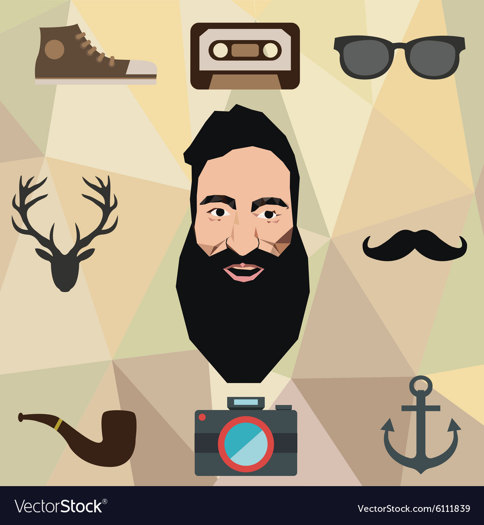 Hipster character design with hipster elements and vector