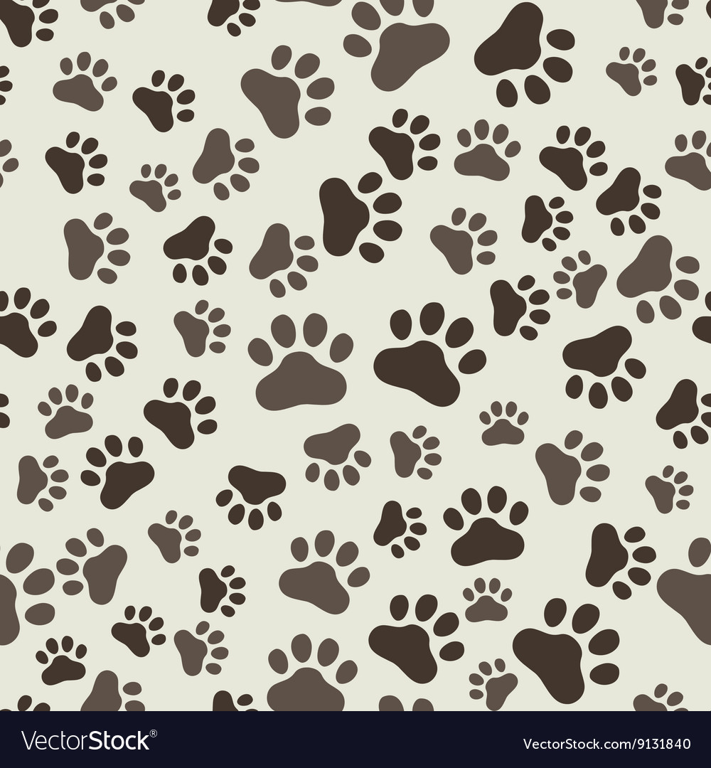 Dog paw print seamless anilams pattern vector