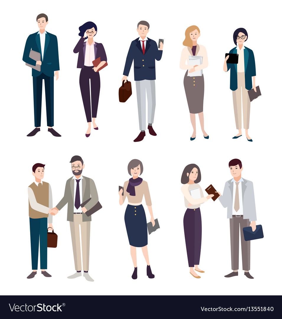 Set of business people men and women in office vector