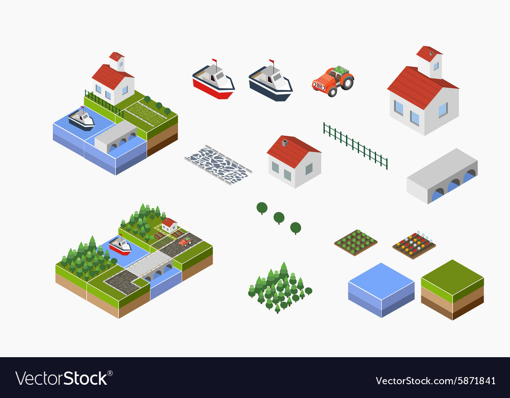 Countryside with farm vector